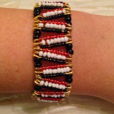 Black Red and White Safety Pin Bracelet by TaraStorck on Etsy
