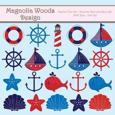 Náutico Clip Art rojo y azul náutico Clip por MagnoliaWoodsDigital