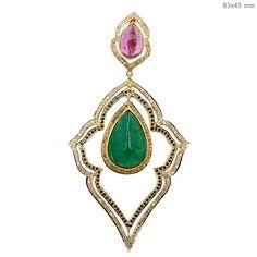 Solid 18k Gold Fine Pendant Pave Diamond Yellow Sapphire Tourmaline Emerald GIFT #Handmade #Pendant