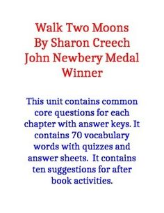 walk two moons novel project activities ipod touch moon and walk two moons common core questions and vocabulary
