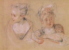 Watteau, Drawing of a little girl. Red and white conte crayon on buff paper.
