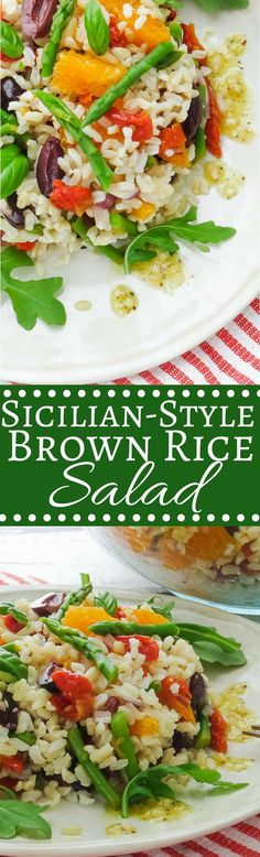 Sicilian-style brown rice salad is light, flavorful and satisfying. Perfect for picnics and meals on the patio. Tortellini, Salad Recipes, Vegan Recipes, Alkaline Recipes, Rice Recipes, Pesto, Brown Rice Salad, Clean Eating, Healthy Eating