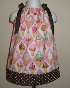 Custom Boutique Ice Cream Pillowcase Dress 3 6 9 12 18 month 2T 3T (LAST ONE) & Pillowcase dress available in size small 24 months to 3t 18\