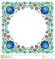 Polish floral folk embroidery frame pattern