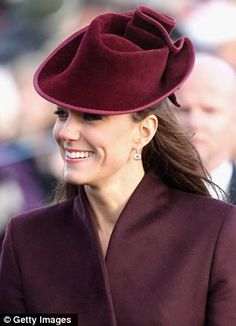 Kate at Sandringham for a church service on Christmas Day. Loving the burgandy velvet hat by Rose Cory.