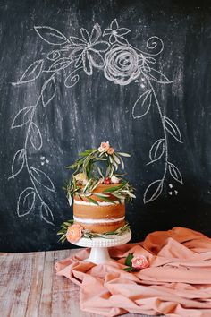 Romantic Peach and Plum Fall Wedding Inspiration   Glamour & Grace cake: Flour Garden styling: Everbloom Designs