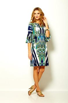 Sara Campbell medallion printed jersey dress with bell sleeve and neck placket