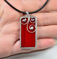 Stained glas jewelry, stain glass red pendant with cord, silver plated, glass jewelry in red, stained glass jewelry gift