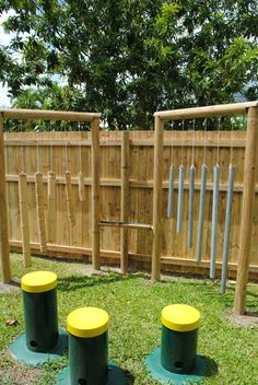 Outdoor music space at Mt. Sheridan ≈ ≈ For more inspiring pins: http://pinterest.com/kinderooacademy/auditory-play/