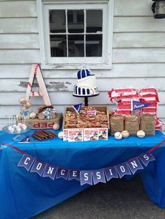 Love this vintage baseball party dessert table! Can someone please throw me a baseball party. Vintage Baseball Party, Baseball Birthday Party, Sports Birthday, First Birthday Parties, Birthday Party Themes, Boy Birthday, First Birthdays, Baseball Table, Baseball Letters