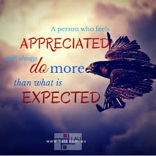 A person who feels appreciated will always do more than what is expected ☼