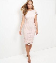 AX Paris Pink Crochet Lace Midi Dress | New Look