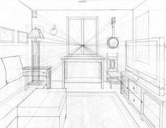 One Point Perspective Living Room Drawing Design Inspiration 118373 Kitchen Landscape Architecture Perspective, Interior Architecture Drawing, Interior Design Renderings, Drawing Interior, Interior Sketch, One Point Perspective Room, 1 Point Perspective Drawing, Perspective Art, Drawing Furniture