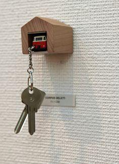 Genius diy inspiration- hot wheels car as key chain-park inside 'garage' key chain holder!