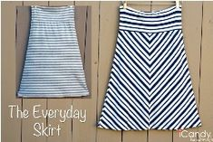 The Everyday Skirt from stretch knit fabric with comfy fold over waistband