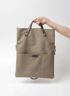 Canvas Folded Messenger Tote Bag with italian leather shoulder straps - Olive