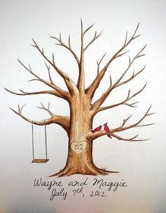 "Original  Wedding Thumb Print Guest Book Tree. Water Color Illustration with birds/cardinals- Custumize 18x24"""". $75.00, via Etsy."
