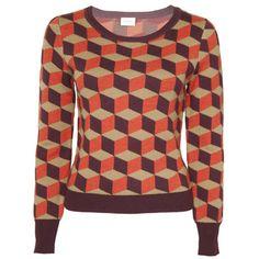 PICASSO JUMPER:  long sleeve, round neck merino wool jumper with gorman geometrical pattern.