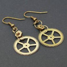 Steampunk Jewelry Brass Gear Earrings by Tanith-Rohe on DeviantArt