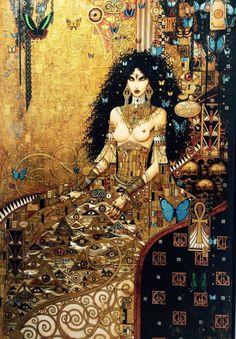 (PPT) Tribute to Klimt by Olivier Ledroit Klimt, Art Deco, Art Nouveau, Fantasy Girl, Dark Fantasy, Requiem Chevalier Vampire, Bilal, Art Graphique, Erotic Art