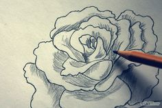Image titled Shade a Flower Rose when Drawing With a Graphite Pencil Step 1 Flower Sketch Pencil, Flower Sketches, Pencil Art, Pencil Drawings, My Drawings, Art Sketches, Amazing Drawings, Art Techniques, Art Tutorials