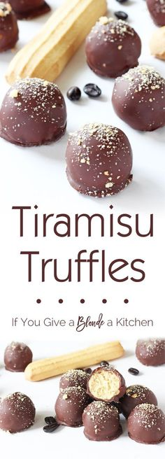 Tiramisu truffles are a wonderful blend of tiramisu flavors (think Italian biscuits, espresso and chocolate) in a delicious bite. The no bake recipe only uses six ingredients! | If You Give a Blonde a Kitchen