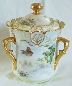 T-V-France-Limoges-Hand-Painted-Christmas-Holly-Windmill-Biscuit-Cookie-Jar