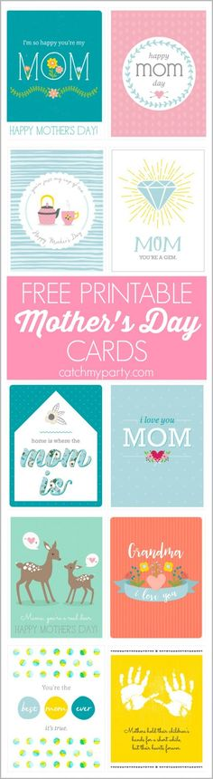 10 Free Printable Pastel Mother's Day Cards. There's even a Mother's Day card for grandmothers in the mix! | CatchMyParty.com