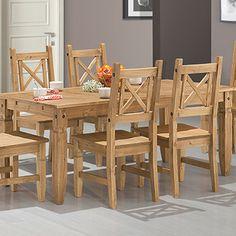 Conjunto Mesa Country 1,90m e 6 Cadeiras Madeira Maciça Rústica - Esse elegante conjunto é um clássico para quem gosta de ter um toque rústico no ambiente. Sua estrutura é robusta e conta com detalhes entalhados a mão!