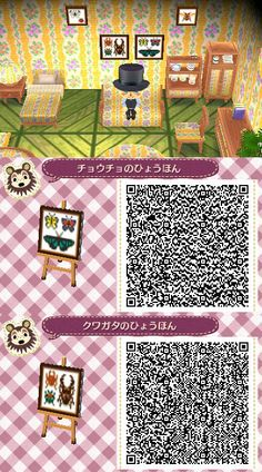 Animal Crossing New Leaf ACNL Butterfly and  beetle framed QR code