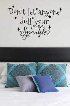 Don't Let Anyone Dull Your Sparkle Decal - Girls Name Decal - Teen Room Wall Name Lettering Stickers on Etsy, $20.00