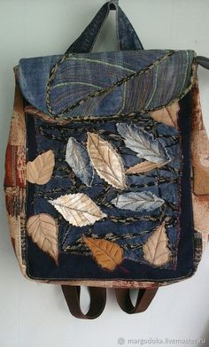 Autumn Etude Jeans and Tapestry Backpack- Autumn Etude Jeans and Tapestry Backpack – buy or order in the online store at the Masters' Fair – Magnitogorsk Denim Backpack, Denim Tote Bags, Denim Handbags, Patchwork Bags, Quilted Bag, Bag Patches, Denim Art, Mode Jeans, Denim Ideas
