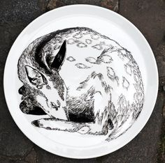 Serving plate - deer sleeping. Hand drawn original illustration from James Ward, each is a unique piece of artwork.