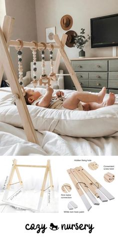 Easy to assemble and fold away. Removable construction allows to change or add more toys. Encourages early motor skills while giving infants something to hold and manipulate. Natural colour, perfectly coordinate with most of the nursery. Diy Baby Gym, Baby Room Diy, Baby Room Decor, Wood Baby Gym, Baby Rooms, Baby Activity Gym, Baby Bouncer, Baby Room Design, Baby Play