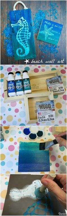 Bring the colors of the ocean into your home with refreshing DIY beach art made from Darice American made pallet art canvas.