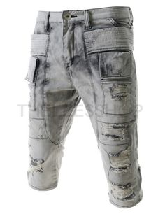 (IL7J406-GRAY) Mens Semi Baggy Washing Velcro Pocket Destroyed 3/4 Jeans