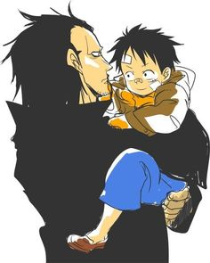 Monkey D. Dragon and Luffy. Why have I never seen this one before? It's so cute. - One Piece