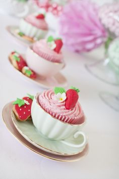 """Photo 3 of 44: Strawberry Tea party, pretty china, pretty cupcakes, strawberry macarons and a gorgeous 8th Birthday party for my daughter who loves strawberrry Shortcake / Birthday """"Strawberry Tea Party by Little Big Company""""   Catch My Party"""