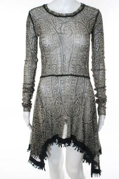 Jean-Paul Gaultier Dress (Pre-owned Black Beige Paisley Mesh Asymmetrical JPG Designer Dress)