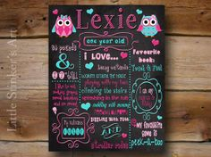 """First Birthday Chalkboard, Owl Girl's Art, Baby's first birthday, Kids Subway art, 16x20"""" DIGITAL FILE, Plus a FREE Facebook & Email file on Etsy, $32.00"""