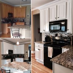 Kitchen cabinets painted with General Finishes Milk Paint - antique white mixed with snow white.