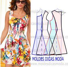 Vestido estampado floral - Moldes Moda por Medida