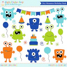 monster aliens clipart clip art birthday party  by DigitalBakeShop, $5.00