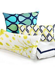 Trina Turk Bedding, Blue Peacock Decorative Pillows