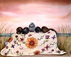 Mother and Her 4 Daughters by the Ocean ~ Claudia Tremblay Best Friend Drawings, Bff Drawings, Art And Illustration, Claudia Tremblay, Mother Pictures, Poster S, Oeuvre D'art, Fine Art Paper, Art Inspo