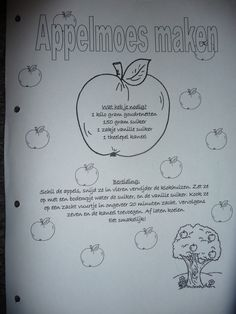 MAP : werkblad: met de kinderen appelmoes maken....