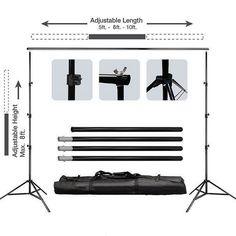 10FT Adjustable Crossbar Kit Wedding Photography Muslin Backdrop Stand
