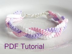 PDF Tutorial Braided Square Knot Macrame Bracelet Pattern, Instant Download…