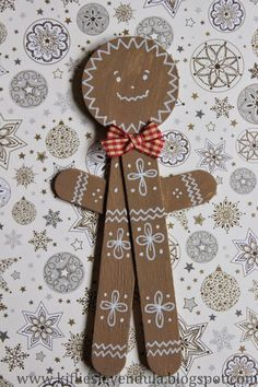 Popsicle stick gingerbread man. for sof christmas party. Might use this for our gingerbread theme