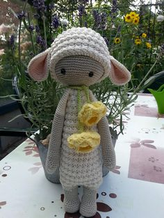 LUPO the lamb made by Yvonne B. / crochet pattern by lalylala